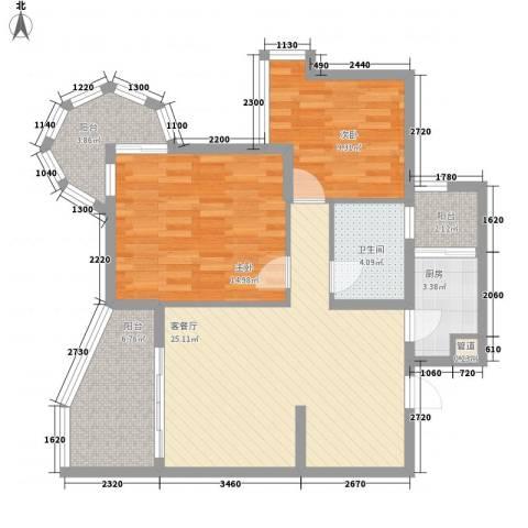 聚仙阁2室1厅1卫1厨89.00㎡户型图