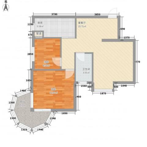 聚仙阁2室1厅1卫1厨65.00㎡户型图