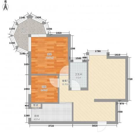 聚仙阁2室1厅1卫1厨60.00㎡户型图