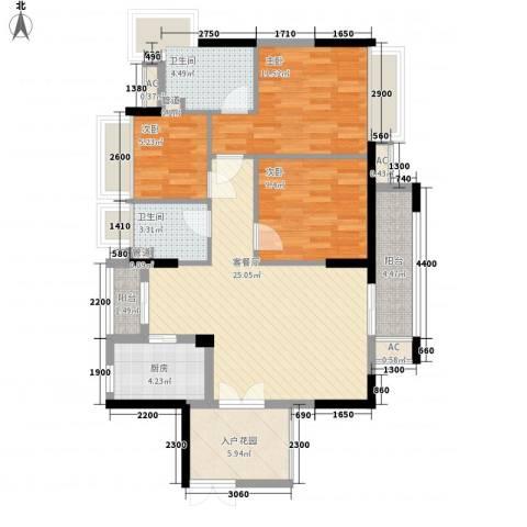 丰泰旗山绿洲3室1厅2卫1厨93.00㎡户型图