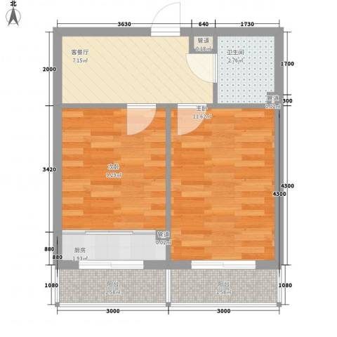 美印雅苑2室1厅1卫1厨49.00㎡户型图
