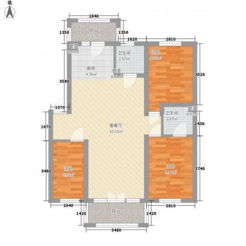 富佳新天地3室1厅2卫0厨101.00㎡户型图