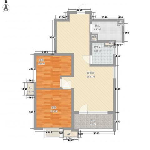 凤凰商贸城2室1厅1卫1厨93.00㎡户型图