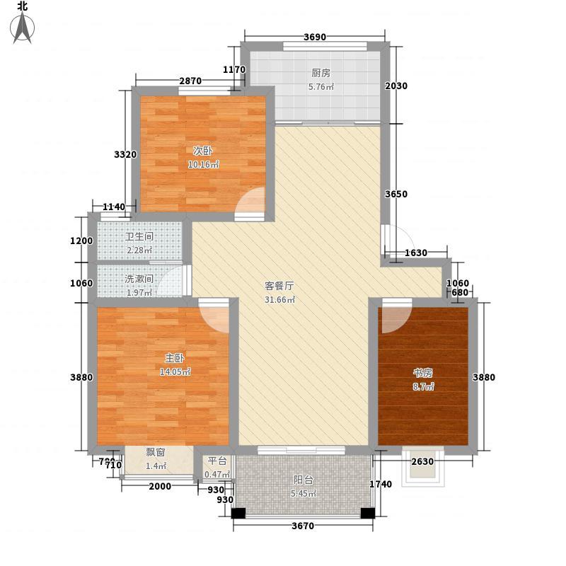 万海虹桥湾113.00㎡F户型3室2厅1卫1厨