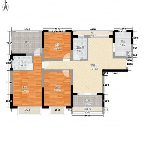 和一花园3室1厅2卫1厨119.00㎡户型图