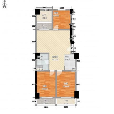 通商华富国际广场3室1厅1卫0厨118.00㎡户型图