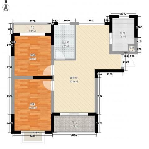 和一花园2室1厅1卫1厨90.00㎡户型图