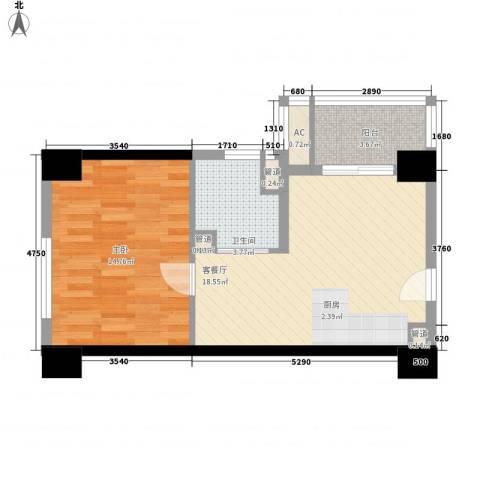 通商华富国际广场1室1厅1卫0厨59.00㎡户型图