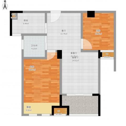 橡树城2室1厅1卫1厨104.00㎡户型图