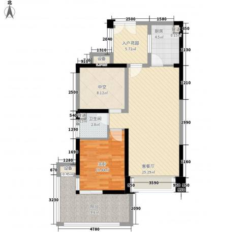 深业东城上邸1室1厅1卫1厨75.00㎡户型图