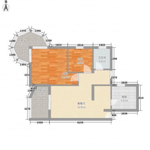 聚仙阁2室1厅1卫1厨75.00㎡户型图