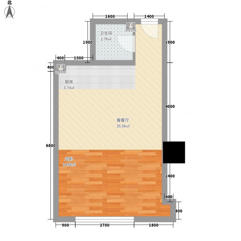 海格国际F户型1室1厅1卫1厨