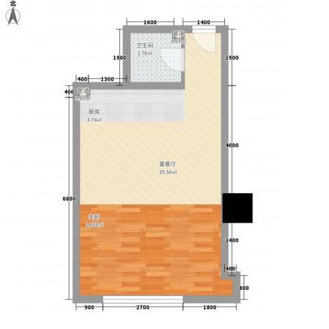 海格国际1厅1卫0厨53.00㎡户型图