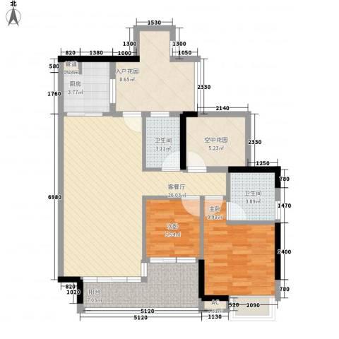 中海锦榕湾2室1厅2卫1厨108.00㎡户型图
