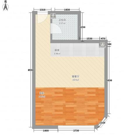 海格国际1厅1卫0厨52.00㎡户型图