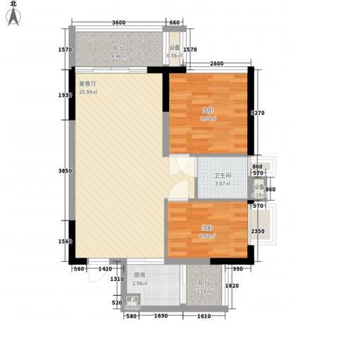 金碧丽江东第2室1厅1卫1厨68.00㎡户型图