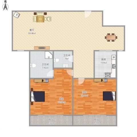 三箭如意苑2室1厅2卫1厨175.00㎡户型图