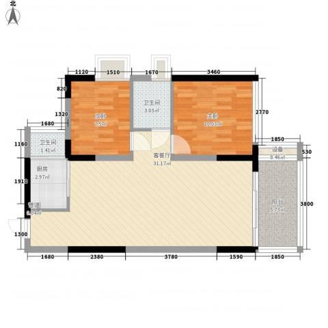 金碧丽江东第2室1厅2卫1厨78.00㎡户型图