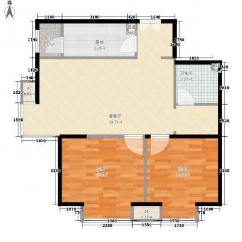 金色漫香林别墅2室1厅1卫1厨92.00㎡户型图