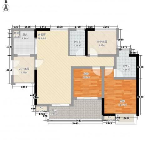 中海锦榕湾2室1厅2卫1厨102.00㎡户型图