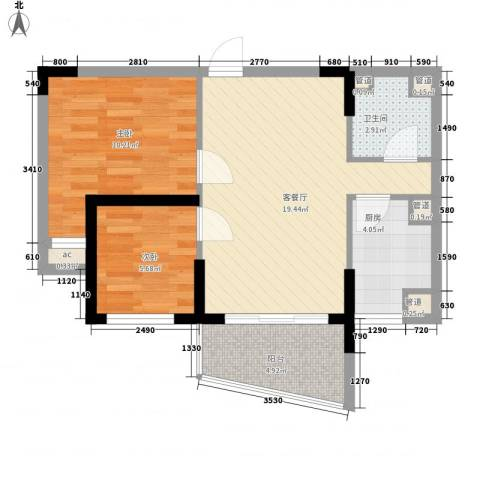 桃源居2室1厅1卫1厨73.00㎡户型图