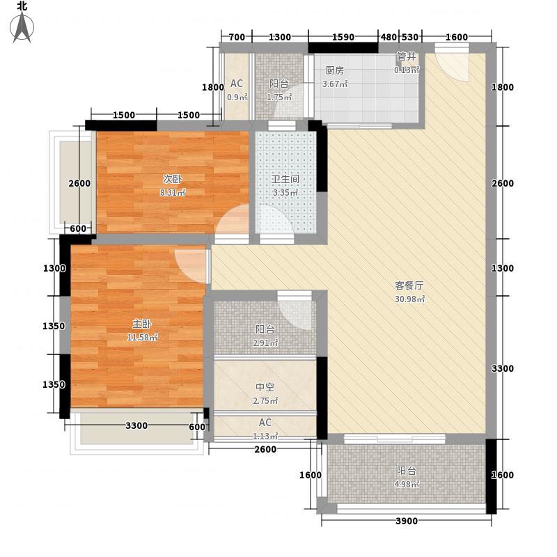 风临美丽湾88.00㎡风临美丽湾2室户型图户型2室
