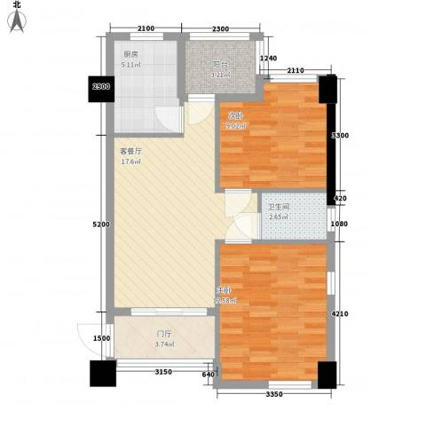 名门世家2室1厅1卫1厨67.00㎡户型图