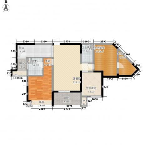 怡翠宏�1室1厅2卫1厨88.00㎡户型图