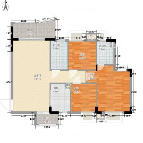 东骏豪苑二期3室1厅2卫1厨115.00㎡户型图