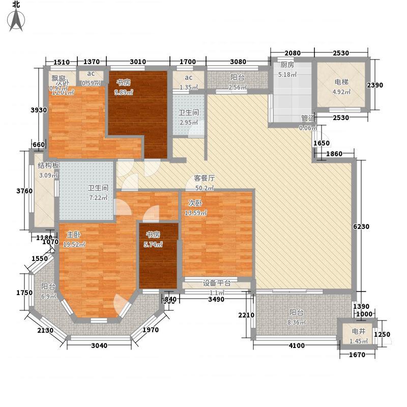 半山御景186.10㎡6#楼02单元户型4室2厅2卫1厨