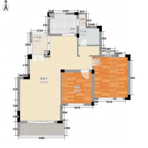蓉湖山水2室1厅1卫1厨103.00㎡户型图
