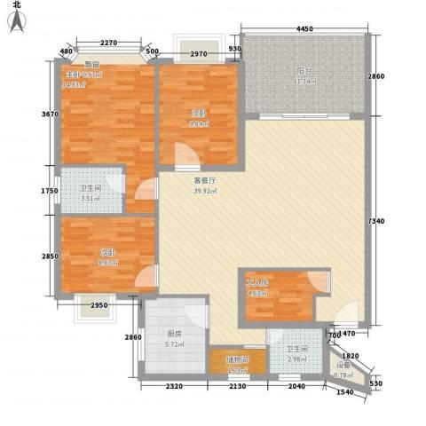 王府花园3室1厅2卫1厨145.00㎡户型图