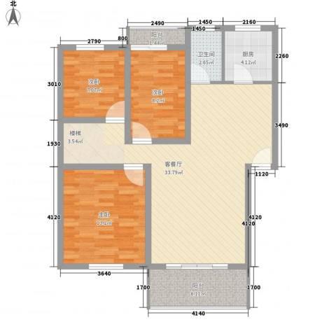 怡景民居3室1厅1卫1厨110.00㎡户型图