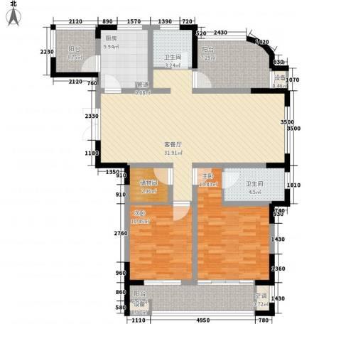 兰陵锦轩2室1厅2卫1厨135.00㎡户型图