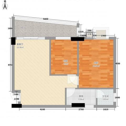 索丽苑2室1厅1卫1厨81.00㎡户型图