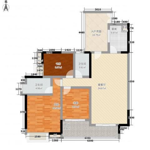中海锦榕湾3室1厅2卫1厨129.00㎡户型图