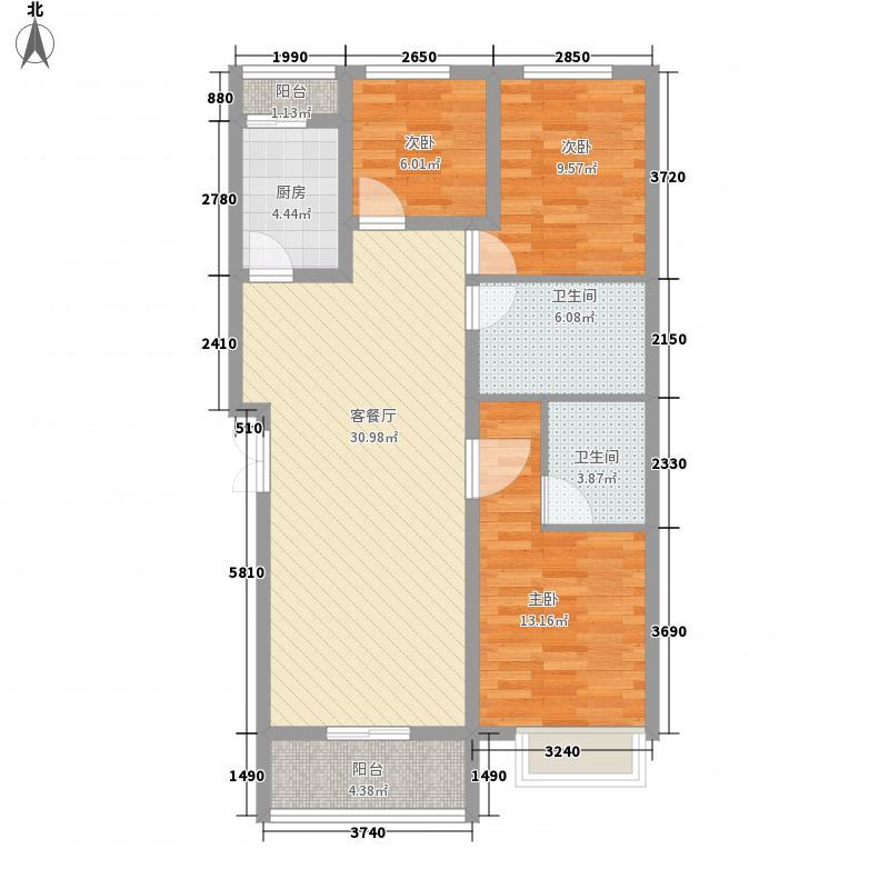 金峰帝景户型图12#楼B户型 3室2厅2卫1厨