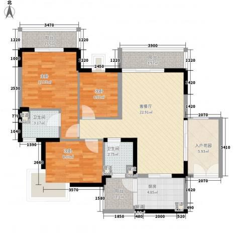 桃源居3室1厅2卫1厨107.00㎡户型图
