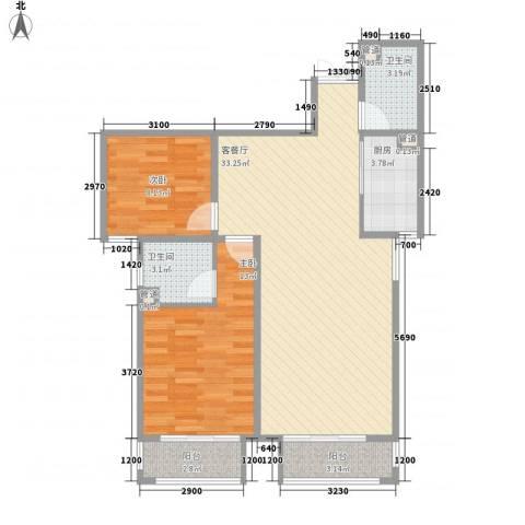 天水丽城二期2室1厅2卫1厨70.75㎡户型图