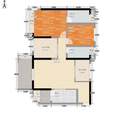怡翠宏�2室1厅2卫1厨95.03㎡户型图