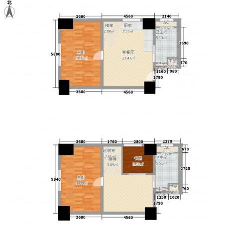 通商华富国际广场3室1厅2卫0厨96.95㎡户型图