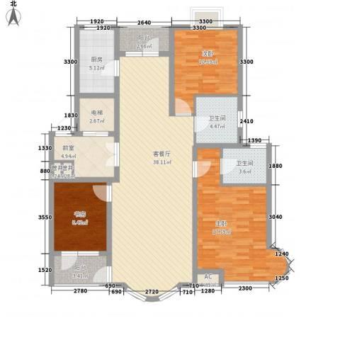 亚辰景院3室1厅2卫1厨118.00㎡户型图