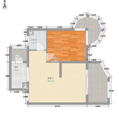 聚仙阁1室1厅1卫1厨75.00㎡户型图