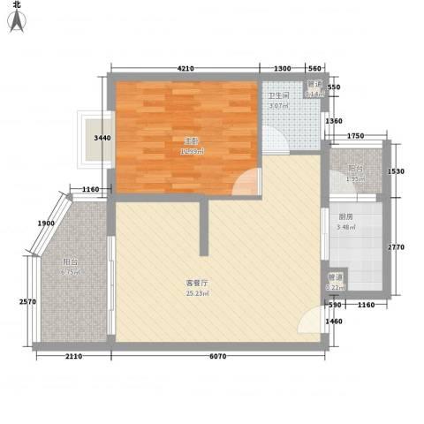 聚仙阁1室1厅1卫1厨68.00㎡户型图