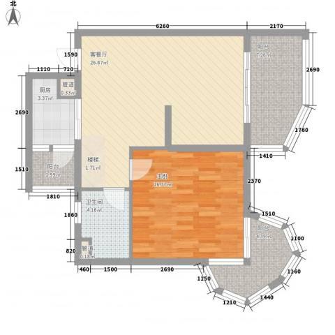 聚仙阁1室1厅1卫1厨64.91㎡户型图
