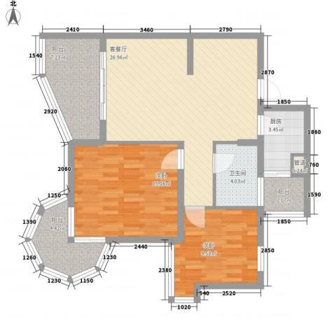 聚仙阁2室1厅1卫1厨73.13㎡户型图