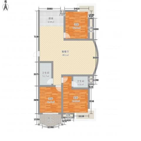 振兴花园3室1厅2卫0厨145.00㎡户型图