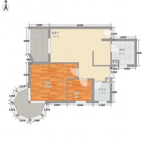 聚仙阁2室1厅1卫1厨80.00㎡户型图