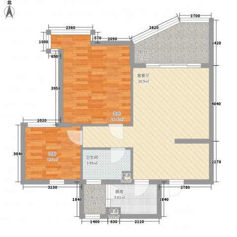 聚仙阁2室1厅1卫1厨82.00㎡户型图