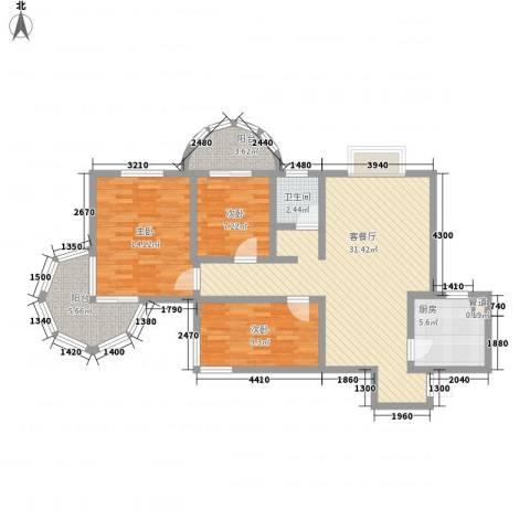 聚仙阁3室1厅1卫1厨83.00㎡户型图